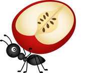 Ant carrying apple slice — Stock Vector