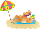 Teddy bear soaking up the sun on a beach — Stock Vector