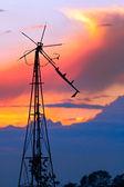 Zdezelowanym wiatrak na zachodzie słońca — Zdjęcie stockowe