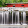 Waterfall and Covered Bridge — Stock Photo #25901017
