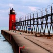 South Haven Lighthouse with Catwalk — Stock Photo