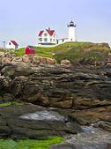 Maják a cape neddick pobřeží — Stock fotografie