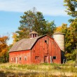 Stock Photo: Old Red Barn and Silo