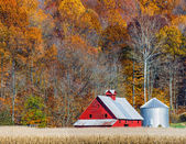 Autumn Red Barn and Hillside — Stock Photo