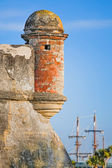 Fort with Sailing Ship — Stock Photo