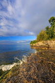 Rocky Coastline at Cave Point — Stock Photo