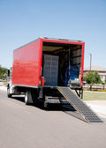 Moving Van On Street With Ramp, Boxes — Stock Photo