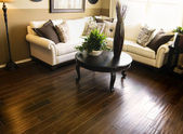 Hard wood flooring in living room area — Stock Photo