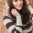 Beautiful young womwearing wool hat — Stock Photo #18976631