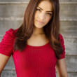 Стоковое фото: Beautiful smiling brunette young woman