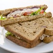 Turkey meat deli sandwich on plate — Stock Photo