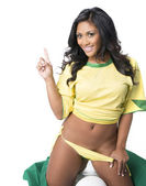 Woman dressed in Brazil soccer football national team colors — Stock Photo
