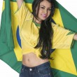 Woman wearing Brazil football soccer shirt — Stock Photo #30231425