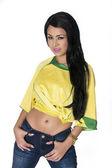 Vrouw dragen voetbal voetbalshirt — Stockfoto