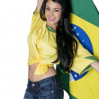 Woman wearing Brazil football soccer shirt — Stock Photo
