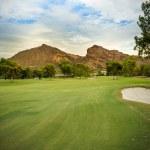 Golf course fairway with Camelback Mountain Arizona — Stock Photo
