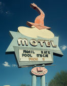Americana road sign motel sign route 66 style — Stock Photo