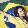 Brazil soccer football fan — Stock Photo