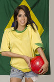 Woman in Brazil football colors — Stock Photo