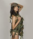 Donna ragazza sexy esercito — Foto Stock