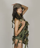 Sexy army girl woman — Stock Photo
