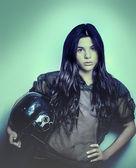 Sportovní žena portrét — Stock fotografie
