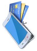 "Credit cards in the ""smartphone purse"" — Stock Photo"