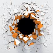 Vernietiging van een witte muur — Stockfoto