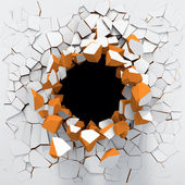 Destruction of a white wall — Stock Photo
