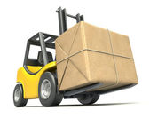 Forklift with post package — Stock Photo