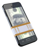 Money in black mobile phone — Stock Photo