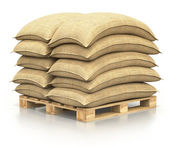 Sacks on the pallet — Stock Photo