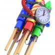 Fireworks rockets with the clock — Stock Photo #18624309