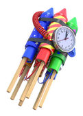 Fireworks rockets with the clock — Stock Photo