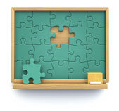 Puzzle chalkboard — Stock Photo