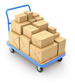 Trolley with post packages — Stock Photo