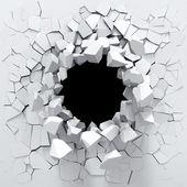 白墙的破坏 — 图库照片