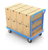 Trolley with boxes — Stock Photo