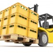 Forklift with drink crates — Stock Photo