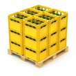 Drink crates on the wooden pallet — Stock Photo #24985475