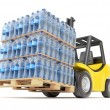 Stock Photo: Forklift with water PET bottles