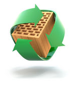 Hollow clay block in recycle arrows — Stock Photo