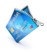 Credit card with zipper — Stock Photo