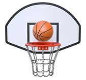 Street basketball kit with backboard, hoop, chain net and ball — Stock Photo