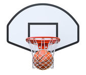 Basket ball in the hoop — Stock Photo