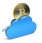 Bitcoin in the cloud — Stock Photo
