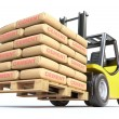 Forklift with cement sacks — Stock Photo