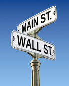 Retro street sign with Wall street and Main street — Stock Photo