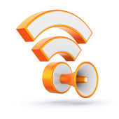 Orange glossy RSS feed sign with loudspeaker — Stockfoto