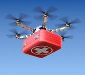 Drone with first aid kit — Stock Photo